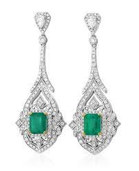 diamond earrings designs 18kt white gold emerald diamond earrings