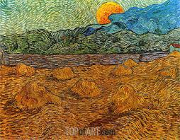 landscape with wheat sheaves and rising moon vincent van gogh