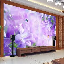 Purple Lillies Beibehang Modern Background Large Painting Hazy Purple Lilies Wall