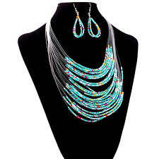 multi layered beaded necklace images Jewelry multicolor multi layer resin beads necklaces and earrings jpg