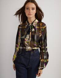 metallic blouse metallic plaid bow blouse cynthia rowley