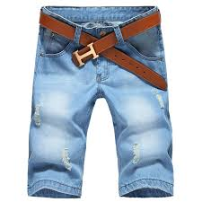 mens light blue shorts 2017 new summer large size men hole denim shorts male short jeans
