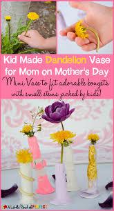 kid made dandelion vase for mom on mother u0027s day