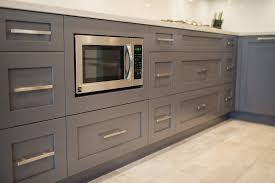 Grey Laminate Wood Flooring Small Grey Kitchen Cabinets L Shaped Double Sinks Brushed Nickel