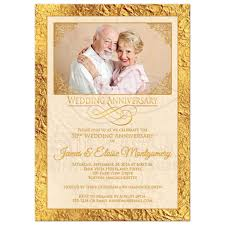 50th wedding invitations 50th wedding anniversary photo invitation ivory gold scrolls