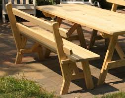 Picnic Table With Benches Treated Pine Picnic Table W 2 Backed Benches