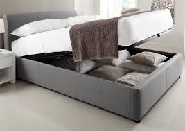 Plans For A King Size Platform Bed With Drawers by Modern Gray Padded King Size Platform Bed Frame With Bedding