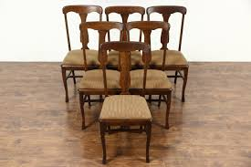 vintage french dining table sold set of 6 antique 1900 quarter sawn oak dining chairs new