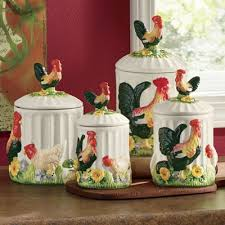 4 piece 3 d sunflower rooster canister set from seventh avenue