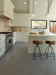 Kitchen Floor Tile Ideas With Oak Cabinets Alluring Sleek White Ceramic Floor Tile For Contemporary Kitchen