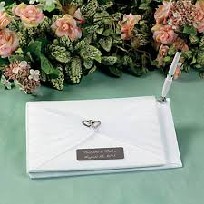 guest book and pen set personalized two hearts wedding guest book pen set