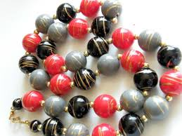 large red beaded necklace images Vintage gold swirl large bead necklace apple red black and blue jpg