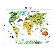 wall sticker large colorful world map sticker educational kids