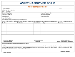 asset handover form