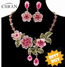 earring necklace sets cheap images Chran wholesale gold color cheap price pink and blue flower jpg