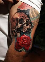 skull and on left sleeve