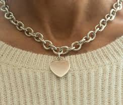 choker necklace charms images Tiffany and co heart charm sterling silver choker necklace for jpg