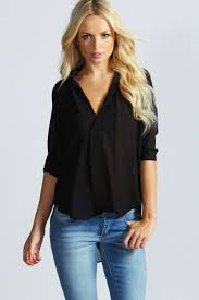 black wrap blouse danielle wrap front oversized blouse at boohoo com ink fashion