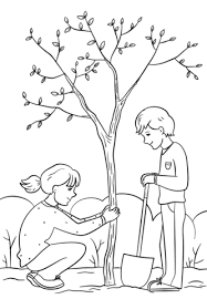 boy planting tree coloring free printable