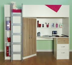 Kids Beds With Study Table White Brown Cabin Bed With White Study Table Completed With