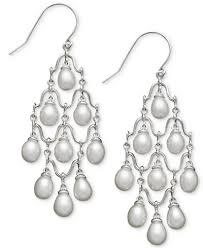 silver chandelier earrings cultured freshwater pearl chandelier earrings in sterling silver