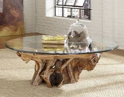 Table Glass Top Living Room Inspirations Tree Trunk Coffee Table Glass Top