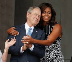Meme Michelle Obama - this picture of michelle obama hugging george w bush has become a