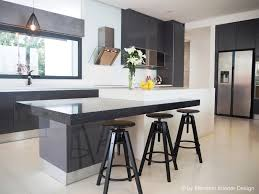 plush sleek kitchen design with tripod bar stools and light gray
