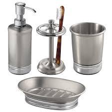 interdesign york metal 4 piece bath accessories set split finish