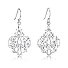 sterling silver earrings for sensitive ears sterling silver filigree dangle drop earrings for