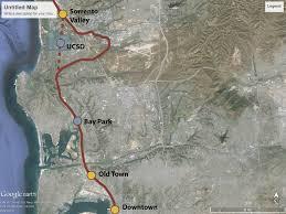 San Diego Mts Map by Mid Coast Trolley Los Angeles San Diego Mesa Employment