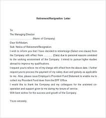 sample retirement letter how to write a letter of resignation due