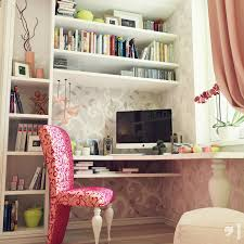 best study room decorating ideas with wall storage and pink study