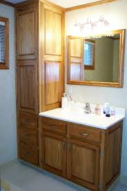 Bathroom Vanity With Shelves Brown Wooden Cabinet With Storage And Drawers Plus White Counter
