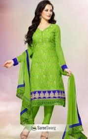 salwar kameez pista green color faux georgette salwar kameez