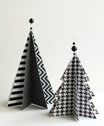 White Christmas Tree With Black Decorations Christmas Craft Idea Paper Trees
