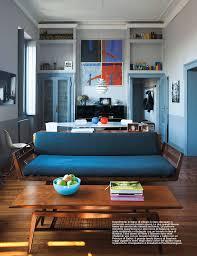 Scandinavian Interior Magazine Sofa Eclectic Style Peacock Blue Velvet Lloyd Flanders Gallery