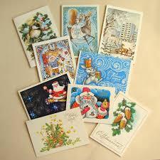 happy new year post card vintage 80s soviet postcard mini postcard set of 9 unsigned