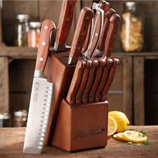 Kitchen Knives Made In Usa The Pioneer Woman Cowboy Rustic Forged 14 Piece Cutlery Set Red