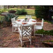 polywood chippendale white 5 piece patio dining set pws122 1 wh