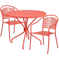 Steel Patio Table 35 25 Coral Indoor Outdoor Steel Patio Table Set With 2