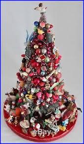 vtg13 bottle brush tree mercury glass ornaments trinkets