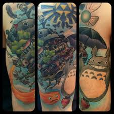 finished my miyazaki half sleeve with some zelda stuff tossed in