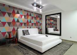 contemporary bedroom with geometric wallpaper modern bedrooms