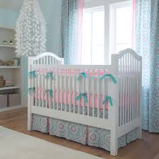 Crib Bed Skirt Measurements Aqua Haute Baby Crib Skirt Two Front Pleats Carousel Designs