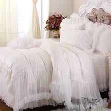 Ruffled Bed Set Luxury White Lace Falbala Ruffle Cake Bedding Set King Size