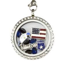 locket necklace with charms images Police officer hero charm locket necklace jpg