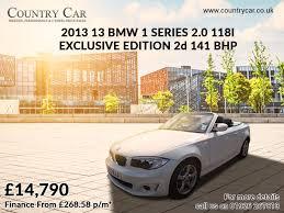 bmw car finance deals 14 790 2013 13 bmw 1 series 2 0 118i exclusive edition 2d 141