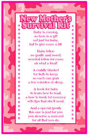 baby shower poems for gift ideas new mother survival kit