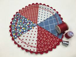 Round Red Rugs Round Red White And Blue Quilted Mug Rug